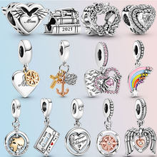 2021 New 925 Sterling Silver Rainbow Heart Angel Wings Mum Dangle Charms fit original pandora Bracelet Silver 925 Jewelry