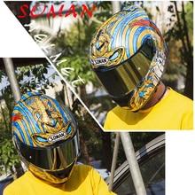 SOMAN 961 ECE Street Helmet Snake Motorcycle Helmet With Golden Visor Full Face Capacete Motor Bike Double Visors Casco DOT silvering visor full face dual visor motorcycle helmet