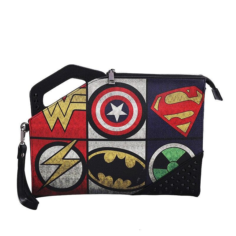 Клатчи Marvel Мстители унисекс, модный кошелек-конверт с заклепками из искусственной кожи в стиле ретро Капитан Америка Супермен, готический с...