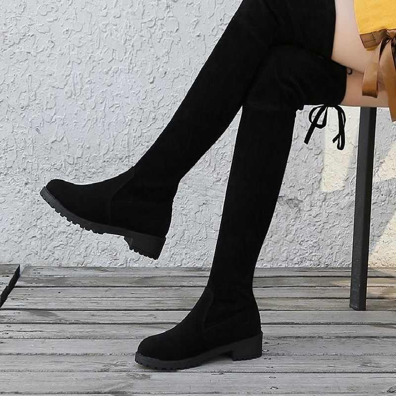 Mùa Đông Trên Đầu Gối Giày Người Phụ Nữ Giày Dài Vải Co Giãn Đùi Gợi Cảm Tròn Cao (5Cm-8Cm) sang Trọng Ngắn Đàn