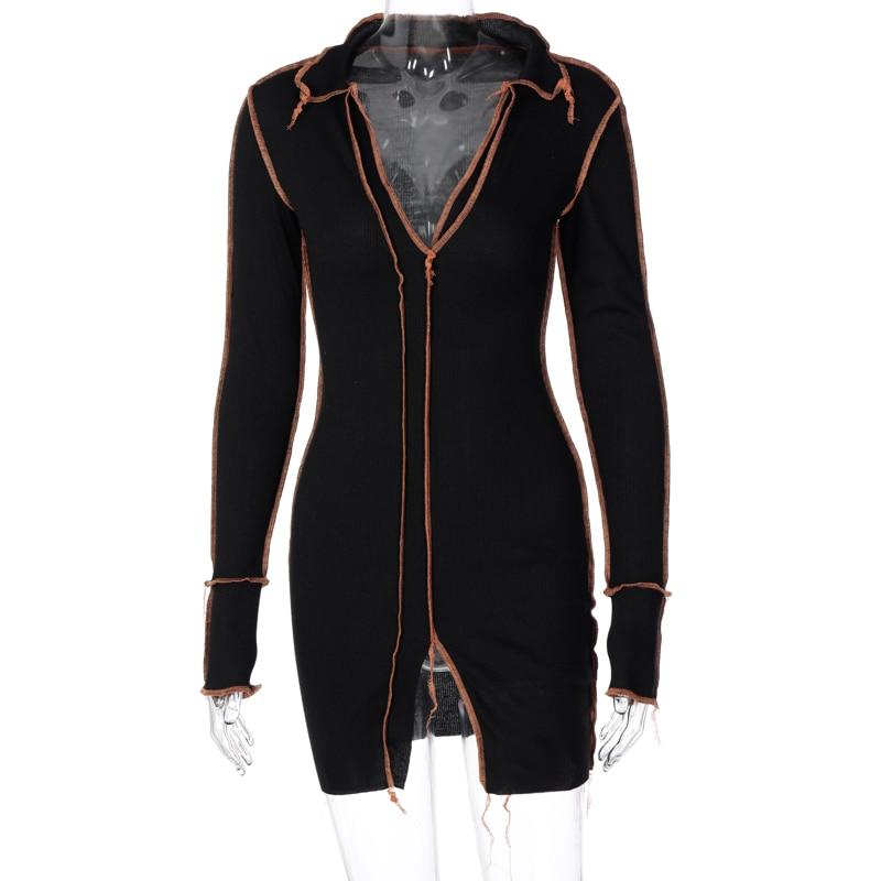 H3251ce249e4e45fa9df9f88cbe3450e9J - Hugcitar 2020 Long Sleeve Patchwork Sexy Mini Dress Autumn Winter Women Fashion Streetwear Outfits Clit Club Y2K Clothing
