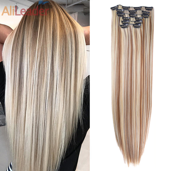AliLeader Head 16 Clip In Hair Extension Long Straight Natural Black 6 Pcs/Set Clips 22 Inch Synthetic Piece For Women