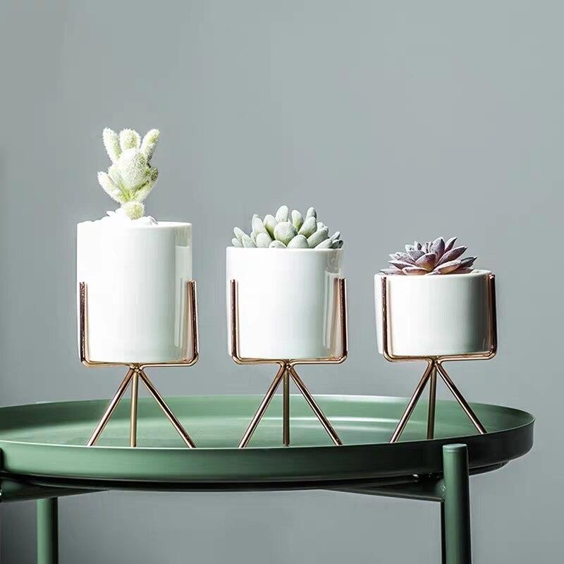 Купить керамический цветочный горшок в скандинавском стиле 3 шт подставка