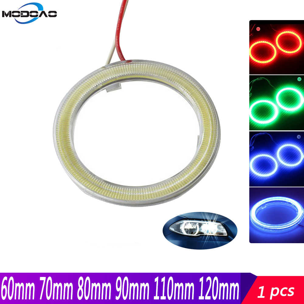 1 Pcs Angel Eyes LED Halo Cincin Lampu DC 12V 60 Mm 70 Mm 80 Mm 90 Mm 100 Mm 110 Mm 120 Mm Auto Moto Motor Skuter Lampu Kabut