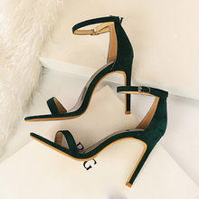 2021 Women 10cm High Heels Flock Stripper Sandals Female Fetish Strappy Red Shoes Lady Valentine Green Summer Classic Sexy Pumps