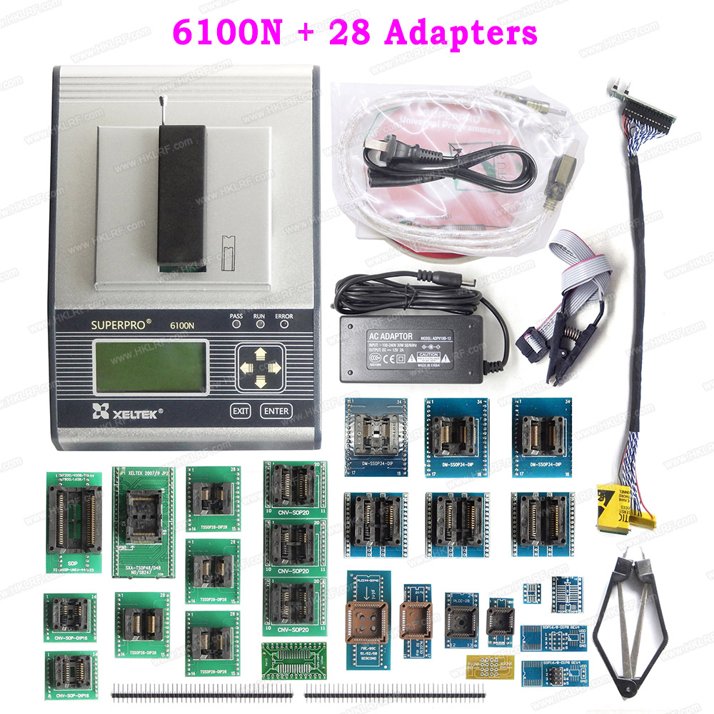 SuperPro 6100N XELTEK Universal Programmer 28 Adapters With IC Chip Extractor