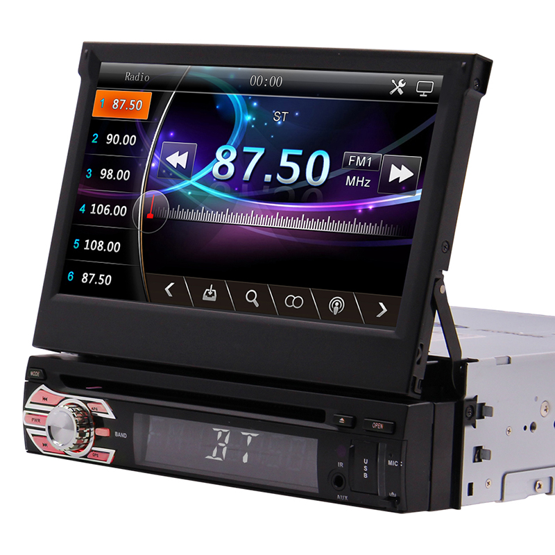 DVD Player Single 1 Din Car Radio 7 inch Capacitive <font><b>Touchscreen</b></font> Bluetooth GPS Navigation Stereo Headunit Support Mirror Link SWC image