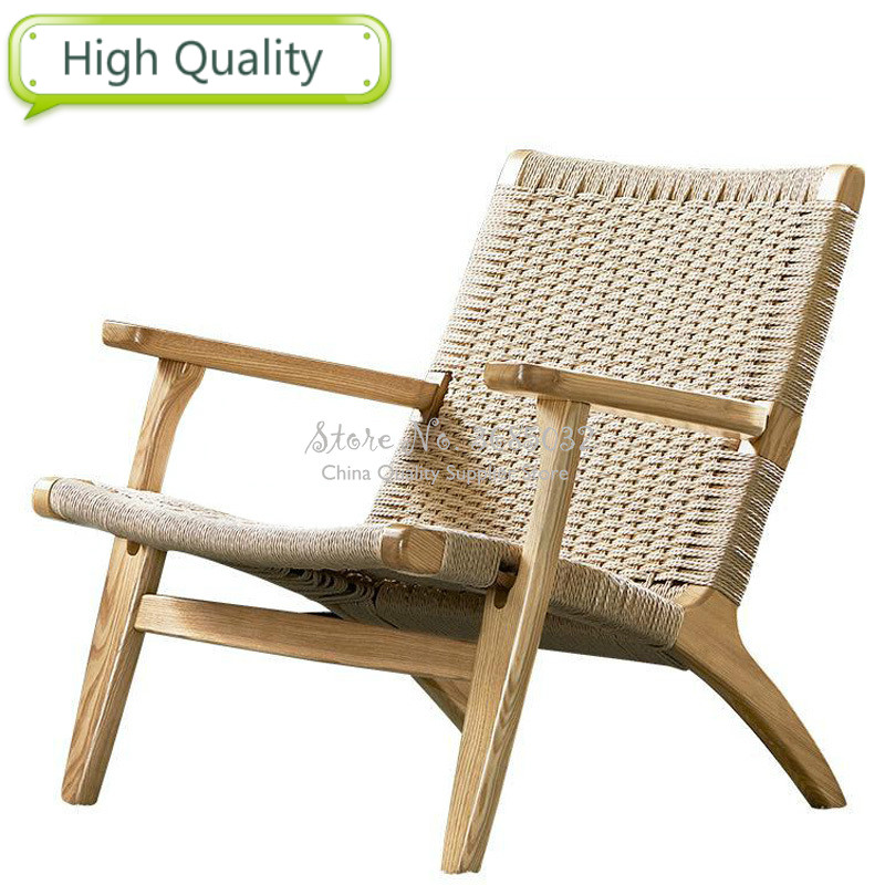 Designer Rattan cane Chair Simple Balcony Wood Leisure stools Household Nordic Single Sofa Backrest coffee Chairs