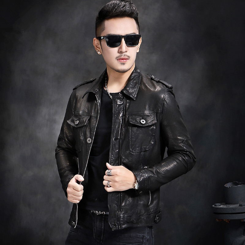 Men's Leather Jacket Autumn Winter Jacket Men Genuine Sheepskin Coat Streetwear Bomber Jackets L17-1215 MY1449