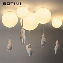 Cartoon White Ceiling Lights With Balloon Bear For Kids Room Suspension Girls Bedroom Light Boys Surface Mounted Childern Lamps