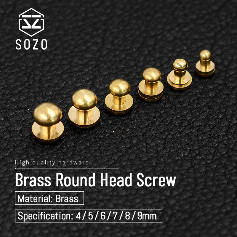 Screw Nail  Stud Screwback Alloy Round Head Monk Rivets 4 5 6 7 8 mm 10Set