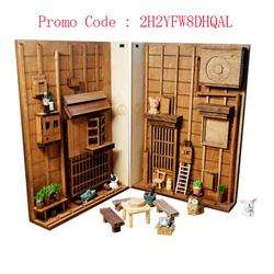Japanese Style Street Rear Lane Bookcase DIY Wooden Assembly Model Bookshelf Street with Light - S M Model Building Kit Calle