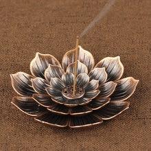 Благовония горелки рефлюкс держатель для ароматических палочек дома буддизм украшения катушки курильница с цветок лотоса форма бронза/медь дзен будд