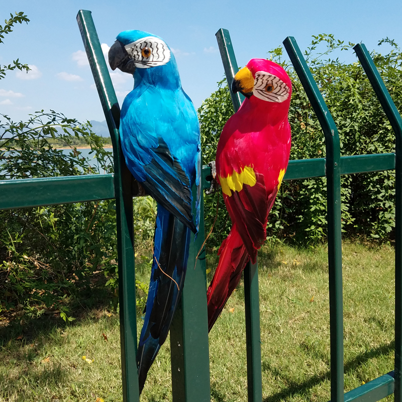 Creative 45cm Simulation Parrot Over the Garden Wall Fence Bird Decor Feather Lawn Foam Figurine Ornament Animal Prop Decoration
