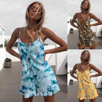 Leopard Floral Print Women Jumpsuit Romper Spaghetti Strap Cami Lady Playsuit Bodysuit Button Summer Female Romper Jumpsuit D30 palm leaf print ladder strap side racer cami top