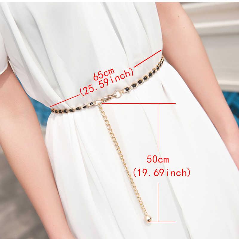 Moda eleganckie damskie perły w talii łańcuszek metalowy łańcuszek do spodni dziki chudy pas kobiet dekoracji sukni paski czeski wąski pasek