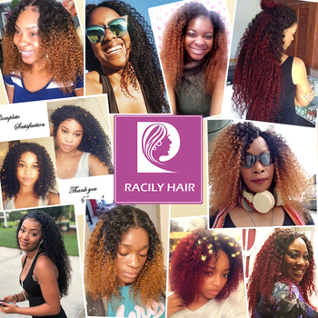 Racily Hair 1/3/4 Pcs Ombre Hair Bundles Brazilian Kinky Curly Hair Weave Bundles Deals Remy T1B/30 Ombre Human Hair Extensions 6