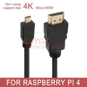 Image 1 - 4K 19 + 1 חוט פטל PI 4 דגם B 19pin מיקרו HDMI כבל 3D 1080P עבור טלפון לוח HDTV PS3 XBOX GoPro 0.3m 0.5m 1m 1.5