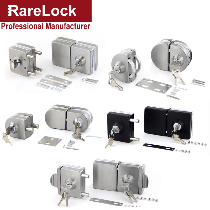 Stainless Glass Door Lock with 3 Keys for Office Bathroom Accessorry DIY no drilling Rarelock MMS104 aa