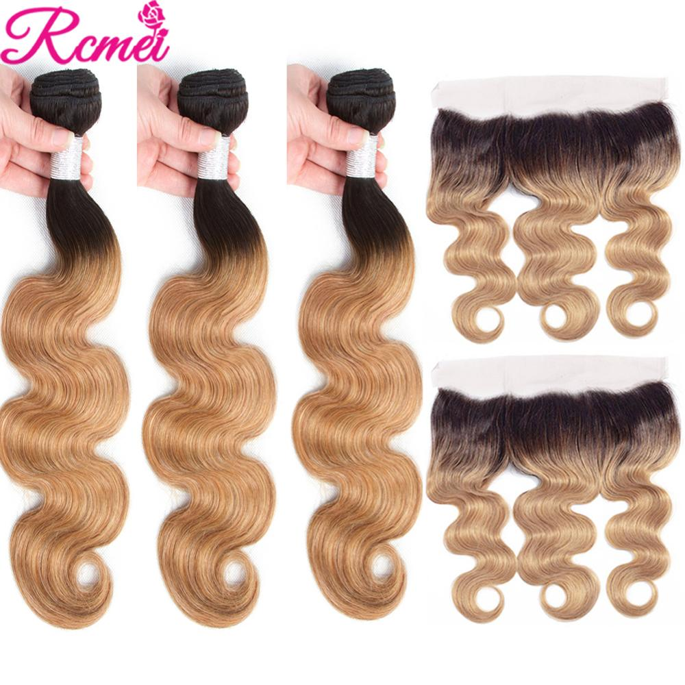 Ombre 613 Honey Blonde Brown Wine Red 3 Bundles With Frontal Closure Brazilian Body Wave Two Tone Dark Roots Non Remy Hair Rcmei
