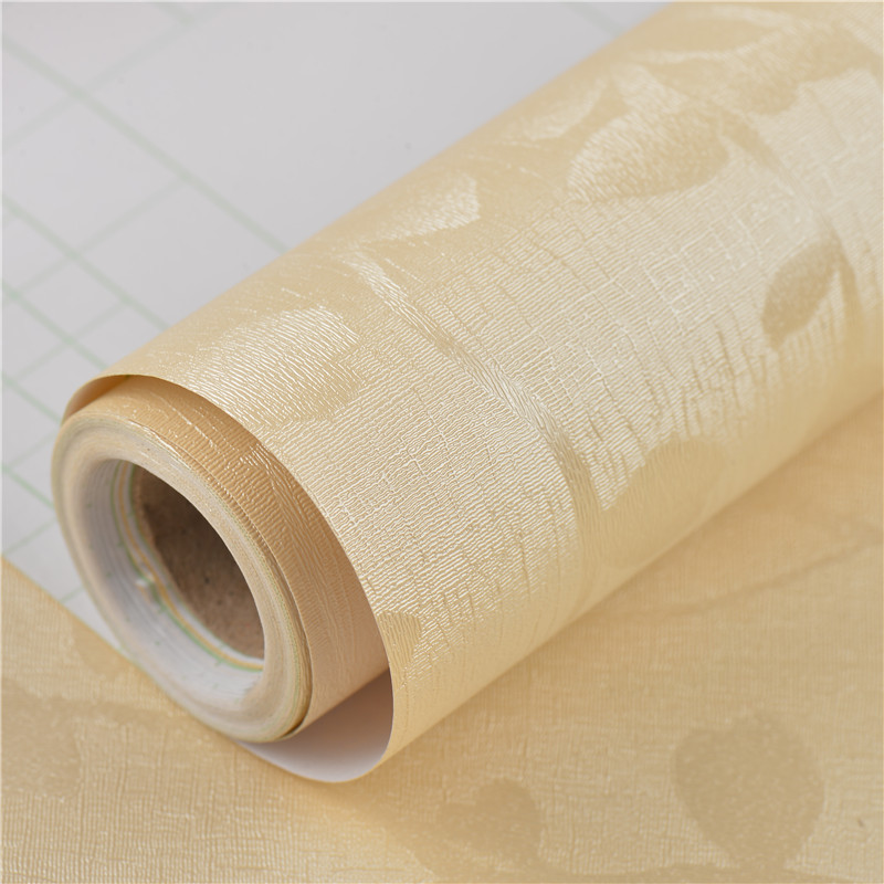 PVC Wallpaper Self-Adhesive Solid Color 3D Fine Embossing Hotel Living Room Bedroom Home Improvement Wall Waterproof Moisture-Pr