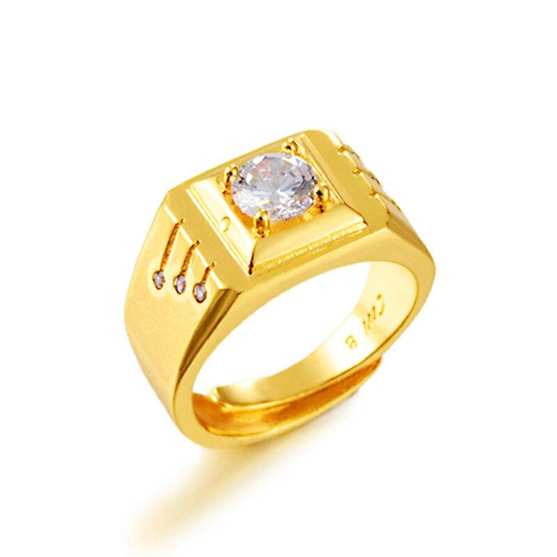 Zircon naturel 18K or rempli pas De décoloration bijoux pour les femmes Anillos De Bizuteria Anillos Mujer blanc pierre gemme bague De mariage pour les hommes