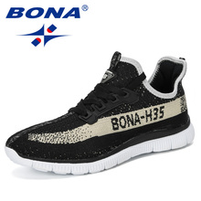 BONA 2019 חדש מעצב סניקרס לנשימה מזדמן לא להחליק גברים לגפר נעלי זכר אוויר רשת ללבוש עמיד נעליים tenis Masculino