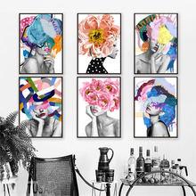 Абстрактная цветка модная девушка настенная Картина на холсте