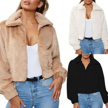 Womens Winter Coat Casual Lapel Collar Thicken Fluffy Zipper Up Warm Outwear Solid Color Slim Short Cropped Jacket with Pockets