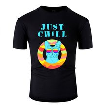 Printed Funny Frenchie French Bulldog Dog. Just Chill Dude Tshirt Men Cool Black Adult T Shirts Homme Hiphop Top(China)