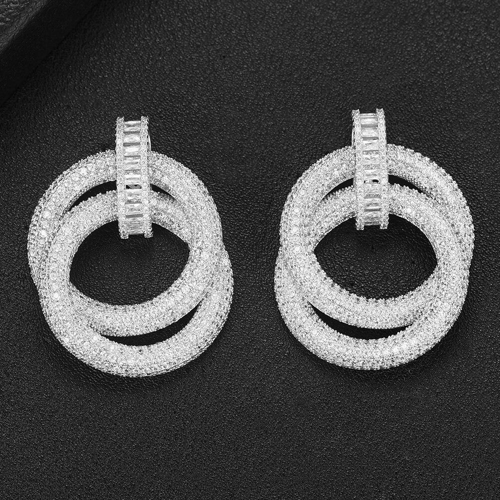 SisCathy Charms Full Mirco Paved Crystal Zircon Round Circle Earrings Noble Naija Dubai Wedding Silver Earrings Fashion Jewelry