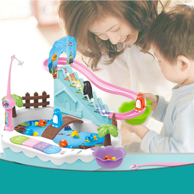 New Style Children Penguin Climbing Stairs Magnetic Fishing Two-in-One With USB Power Supply Fishing Plate Electric Educational