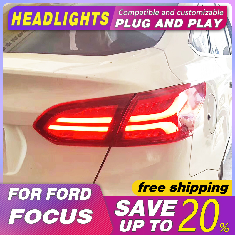 Car Styling Tail Lamp Case for <font><b>Ford</b></font> <font><b>Focus</b></font> <font><b>taillights</b></font> 2015-2018 LED Tail Lamp rear trunk lamp cover drl+signal+brake+reverse image