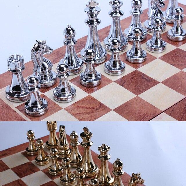 Jeu d'échecs professionnel 30cm, pièces Bronze doré et argenté brillant, échiquier pliant en bois massif de haute qualité 6