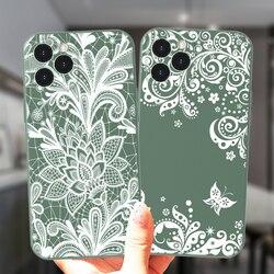 Белый сексуальный цветочный Винтажный кружевной Цветочный чехол для телефона iPhone 11 12 Pro Max 8 7 Plus X XS XR SE 2020 12Mini мягкий силиконовый чехол