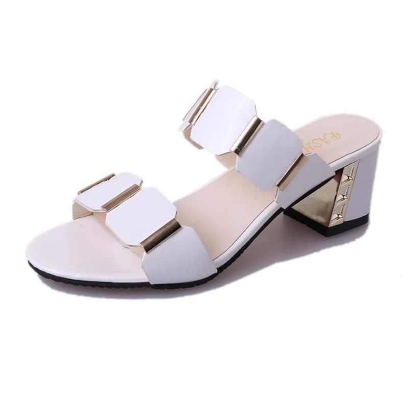 Women Fish Mouth Slipper High Heels Sandals Antiskid Toes Party Shoes Flip Flops Sandals   Middle-aged Women's Shoes    O0427#30