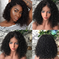 Loose Jerry Curly 370 Lace Front Human Hair Wigs With 13x6 Brazilian Remy Hair Short Curly Bob Wigs For Women Pre-Plucked Wig