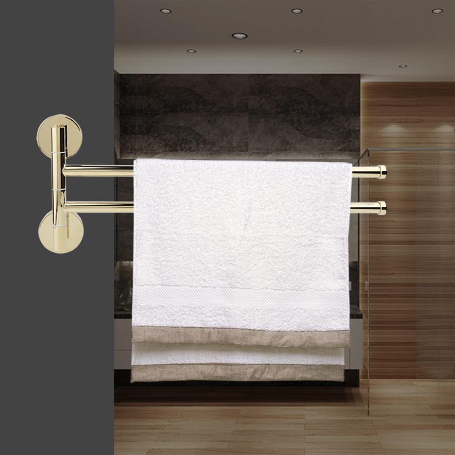European Style Towel Rack 180 Degree Kitchen Hotel Towel Holder Storage Hanger Rotatable Wall Mounted Bathroom Hanger 2 Bars