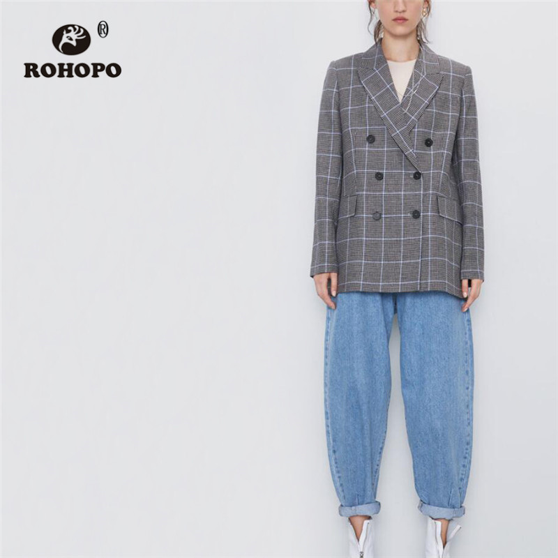 ROHOPO V Lapel Neck Houndstooth Wide Striped Plaid Grey Blazer Double Breasted Notched Collar Straight Ladies Outwear #9484