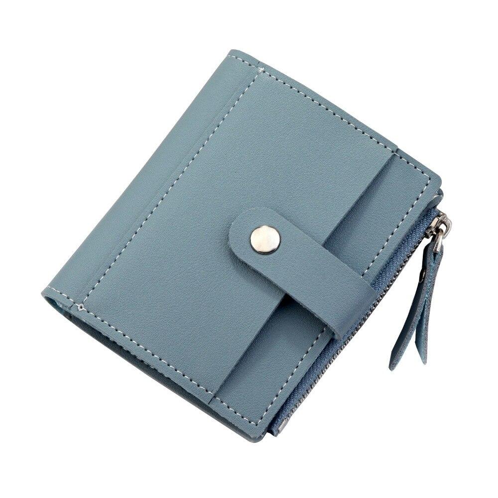 Роскошные Брендовые женские кошельки, длинный модный кошелек из искусственной кожи с застежкой, Женский кошелек, клатч, женский кошелек, кошелек для монет - Цвет: Short-Blue