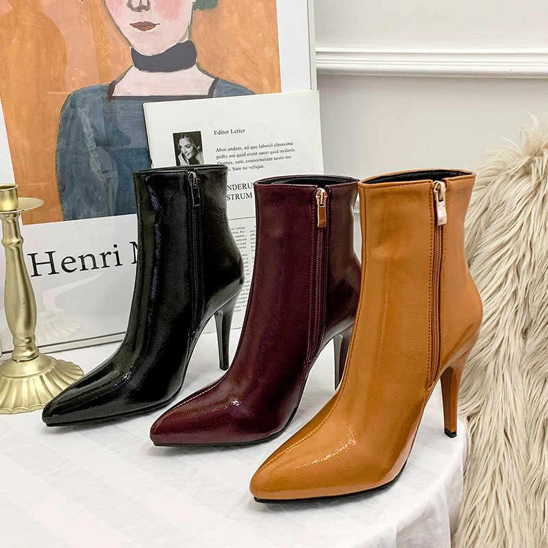 MoonMeek 2020 yeni ayakkabılar kadınlar yarım çizmeler poionted ayak zip yüksek topuklu ayakkabı balo çizmeler bayanlar zarif sonbahar kış çizmeler