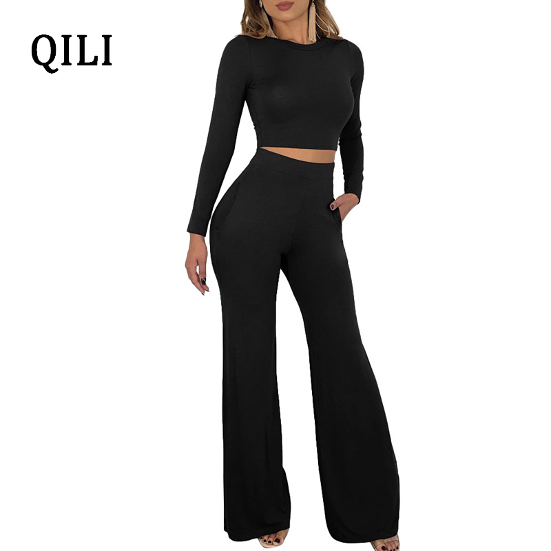QILI Women 2 Piece Set Long Sleeve Jumpsuits Autumn Winter Wide Leg Pants Jumpsuit Black White Casual Solid