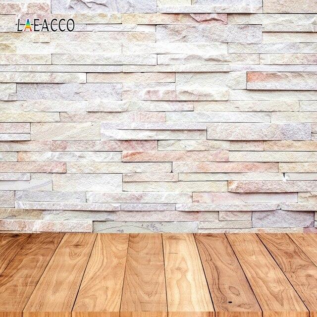 Laeacco muro di mattoni pavimento in legno Grunge ritratto fondali fotografia per bambola Pet vinile sfondi fotografici per Studio fotografico Prop
