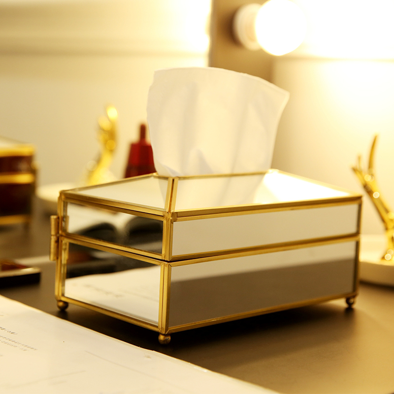 ANFEI Tissue-Box Mirror-Cover Glass Gold With High-Quality New-Arrivals