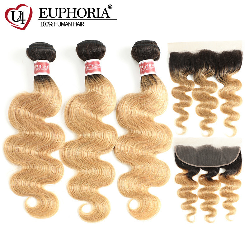 Ombre Brown Brazilian Body Wave Hair Weave Bundles With 13x4 Lace Frontal 100% Remy Hair T1B/27/30 Bundles With Closure EUPHORIA