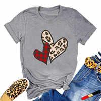 Camiseta informal con estampado de letras para mujer, ropa de manga corta, Túnica, para el Día de San Valentín