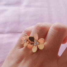 fashion double flowers with cubic zircon in centre rose gold adjustable open ring for women