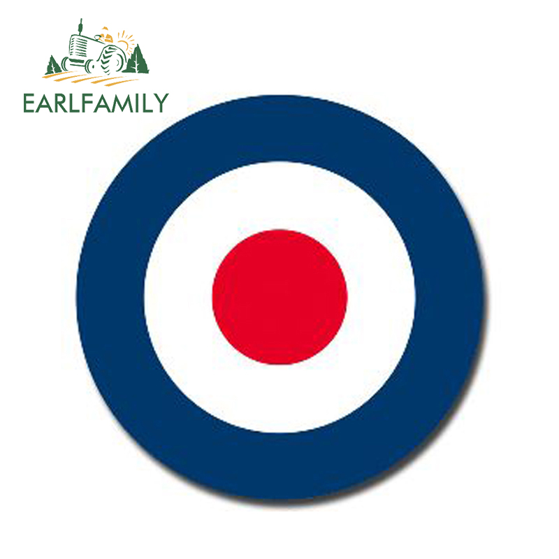 EARLFAMILY 13cm X 13cm Glossy Vinyl Stickers RAF Roundel The Who Mod Target Vespa Reflective Car Sticker Waterproof Car Styling