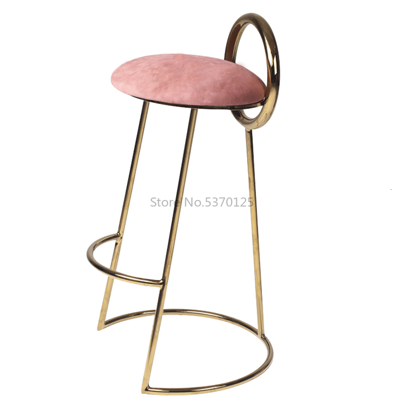 Bar Furniture Household Luxury Fabric High-footed Stool Post-modern Simple Geometry Chair High-quality Flannel Cushion
