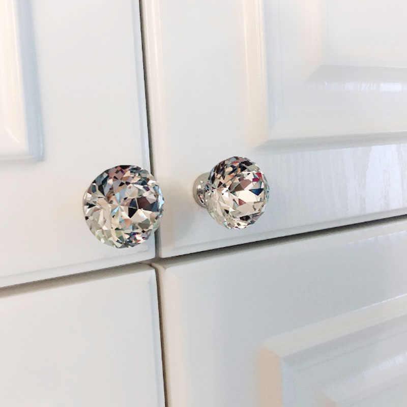 1pc Fashion Door Pull Handles Glass Diamond Shape Furniture Knobs Multiple Sizes